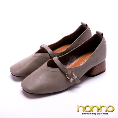 nonno法式溫柔 鑽飾木紋低跟鞋-灰