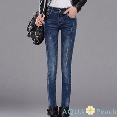 刷破磨痕設計小腳牛仔褲 (深藍色)-AQUA Peach