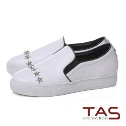TAS星星鉚釘厚底休閒懶人鞋-休閒白