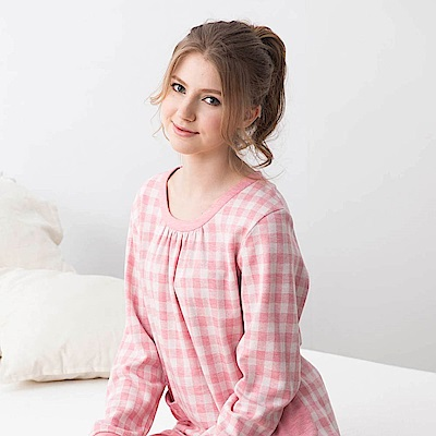 羅絲美睡衣-愜意生活長袖褲裝睡衣(格紋粉)