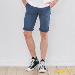 BOFOX 抓皺刷色休閒短褲-深藍