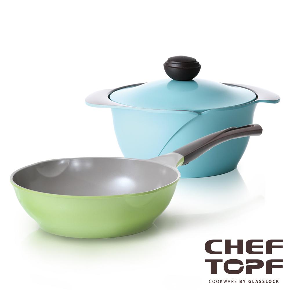 Chef Topf薔薇系列不沾鍋-28cm炒鍋+湯鍋24cm