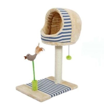 寵喵樂 可愛小鳥貓爬窩/貓抓柱 《藍色》