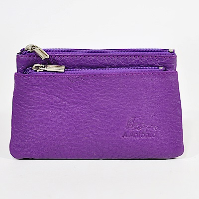 Miyo進口牛皮分層零錢包(紫色)