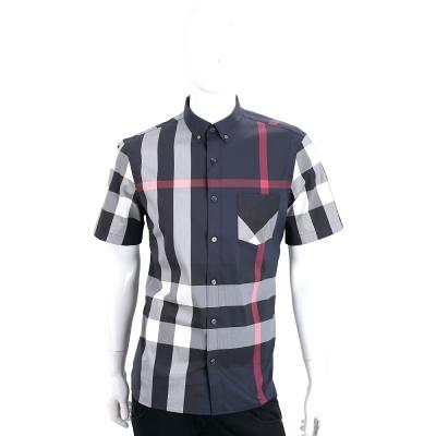 BURBERRY 格紋伸縮棉質混紡短袖襯衫(海軍藍)
