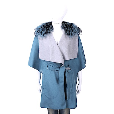 Manzoni 24 喀什米爾皮草領藏藍色綁帶手工羊絨短大衣