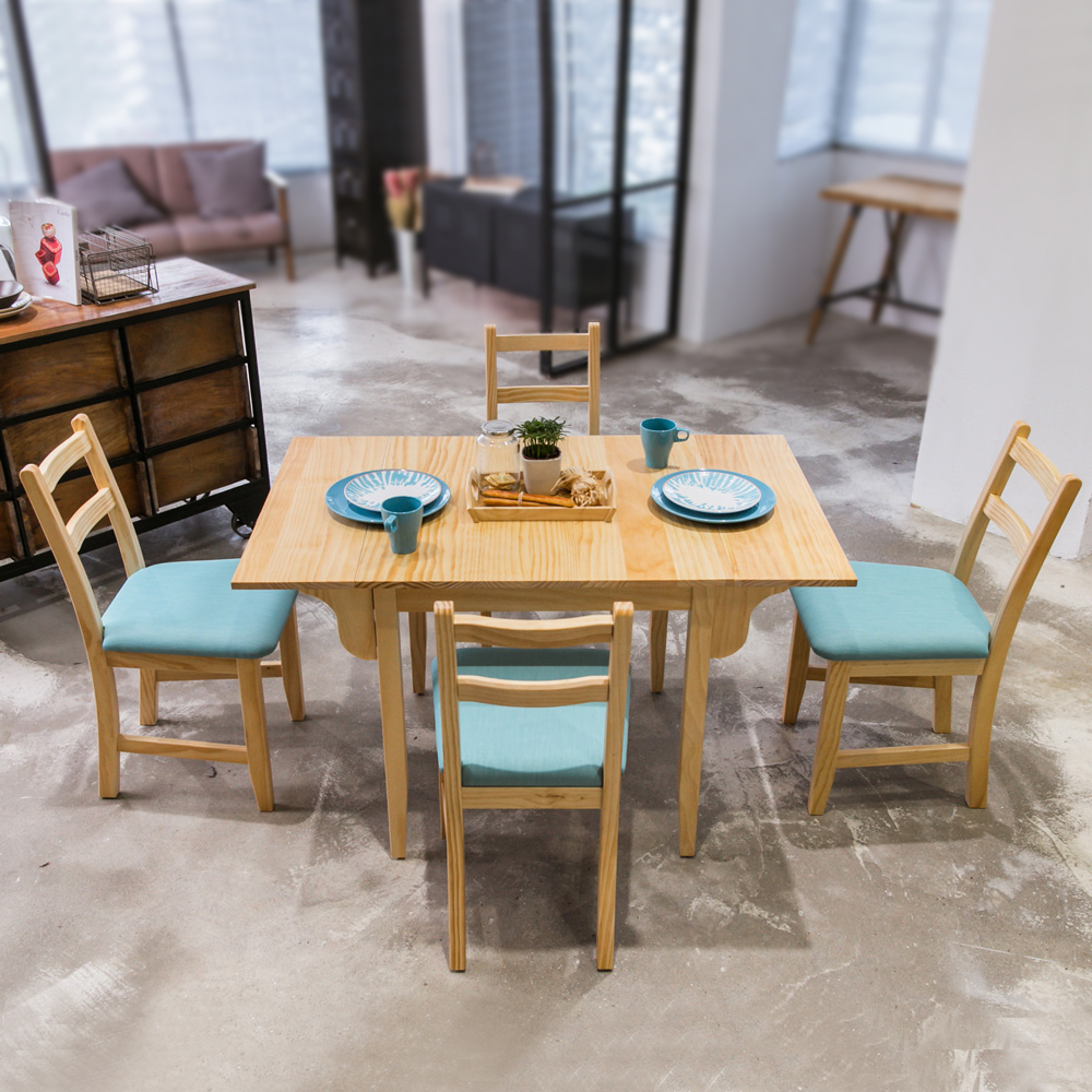 CiS自然行實木家具- 北歐雙邊延伸實木餐桌椅組一桌四椅74*122公分/原木+湖水藍椅墊