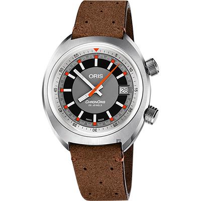 Oris豪利時 CHRONORIS 日期機械錶-灰x咖啡/39mm