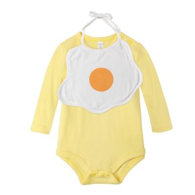 baby童衣-連身衣-荷包蛋圍兜長袖連身裙-套組-60302