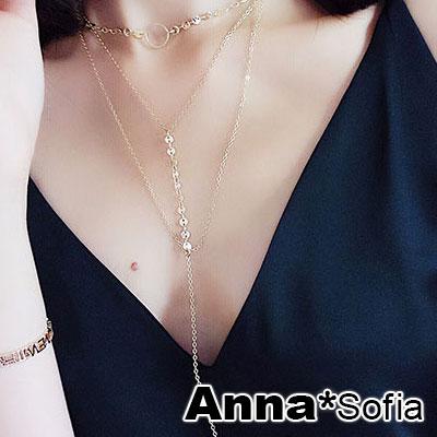 AnnaSofia 舞孃層次連鍊 Y字長鍊項鍊毛衣鍊(金系)