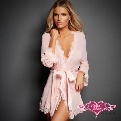 罩衫 輕盈婉約 柔紗性感外罩式連身睡衣(粉F) AngelHoney天使霓裳