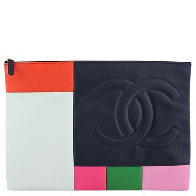 CHANEL-彩色真皮拼接iPad收納袋-大型化妝