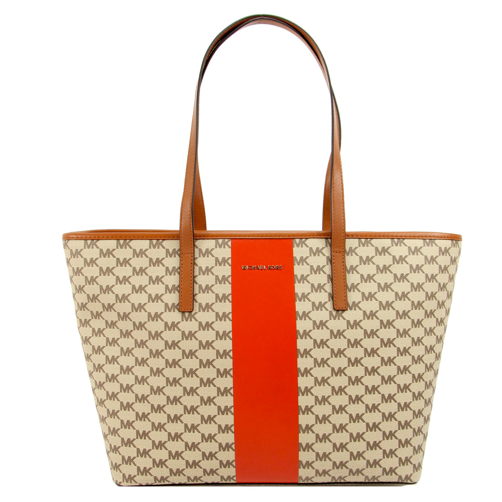 MICHAEL KORS CENTER STRIPE蛇紋直條肩背包(大/橘) product image 1