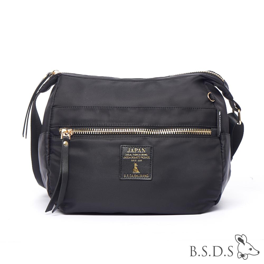 B.S.D.S冰山袋鼠-日系帆布x歐美簡約輕體積拉鍊側背包-閃耀黑