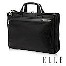 ELLE HOMME 紳士皮革13吋公事包雙層拉鍊款- 黑色 EL74163A