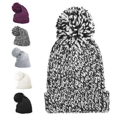 日系大毛球反折針織保暖毛帽-黑白