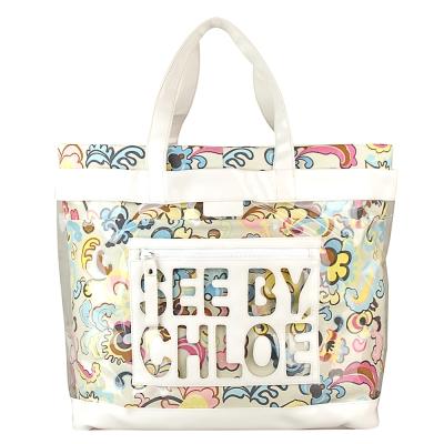 See By Chloe 經典字母LOGO PVC防水束口雙層肩背購物托特包(白彩)