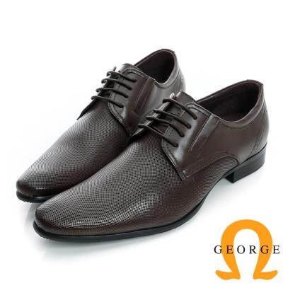 GEORGE-側V切口細格紋面料真皮紳士鞋-咖啡色