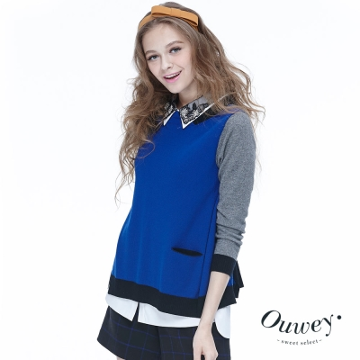 OUWEY歐薇-前後百變羊毛針織上衣-藍