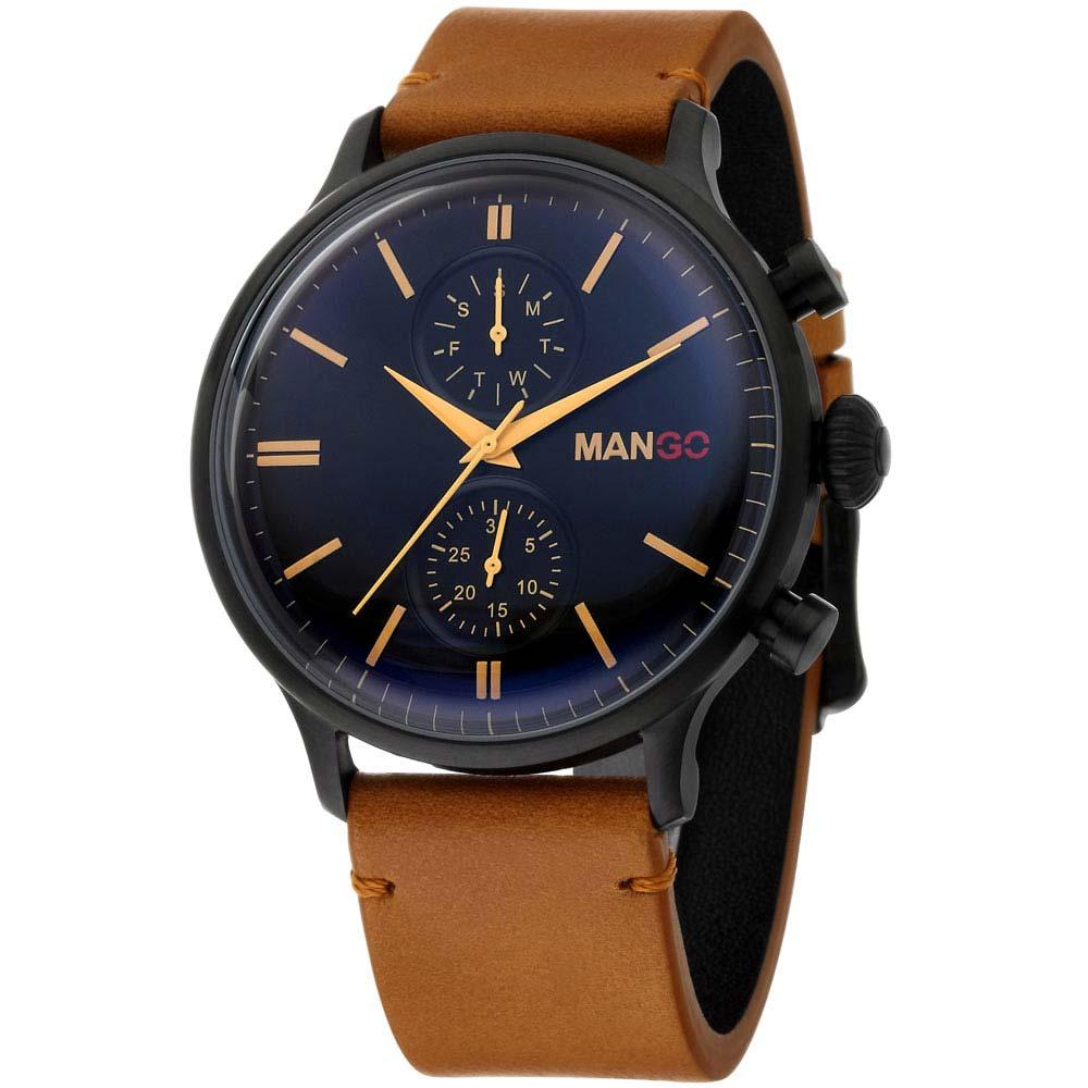 MANGO HOMME 簡約復古時尚不鏽鋼時尚腕錶-黑x淺咖/45mm