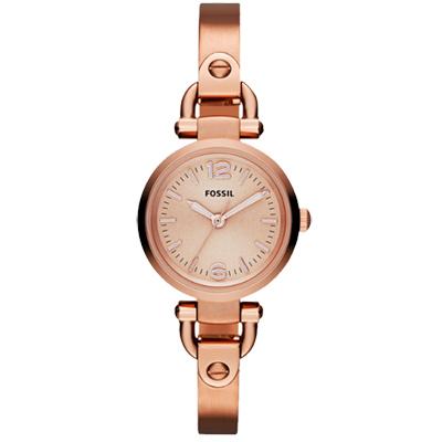 FOSSIL MINI 優雅小錶徑時尚手環腕錶-玫塊金/27mm