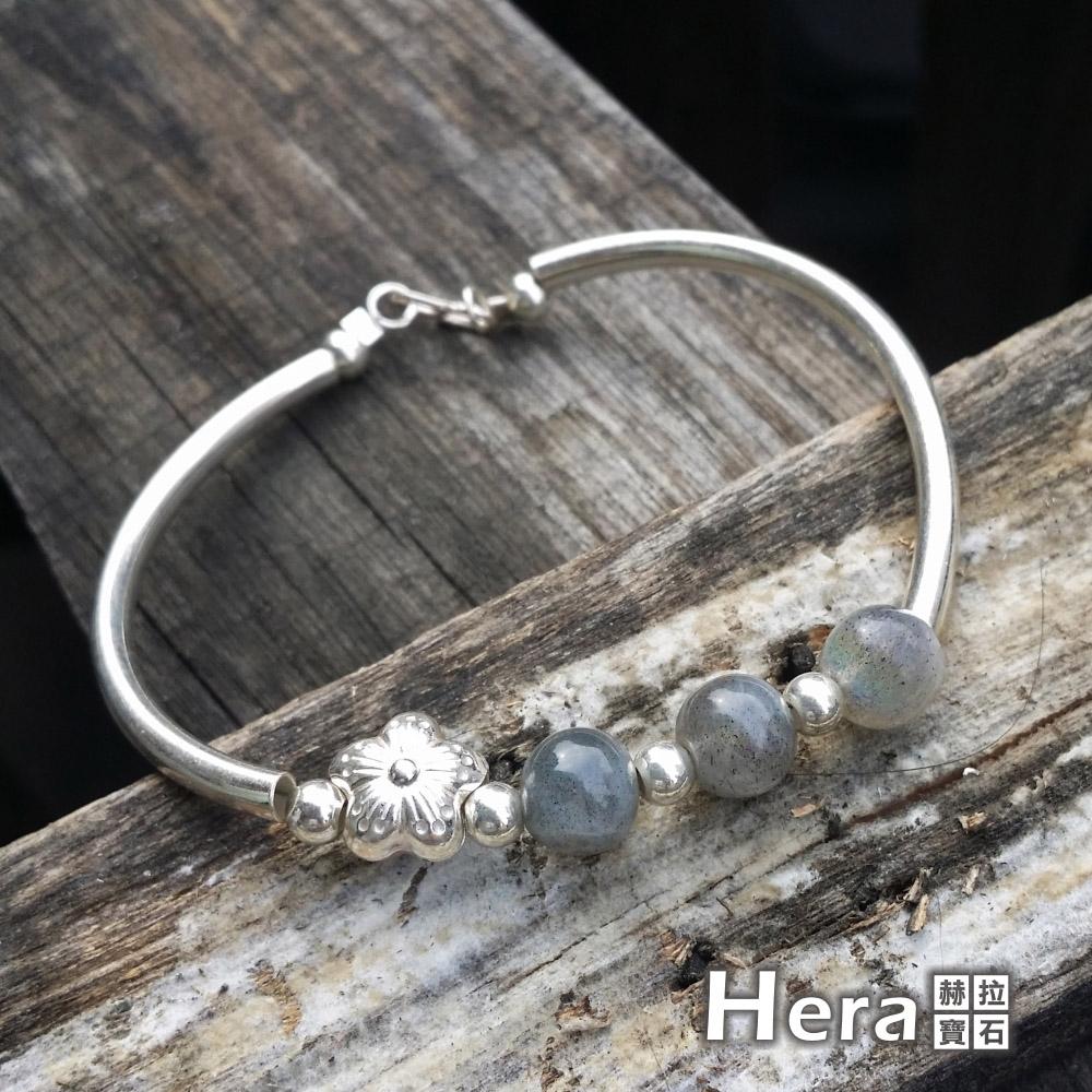 Hera 925純銀手作天然拉長石圓珠梅花手環/手鍊