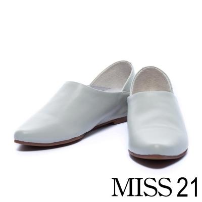 平底鞋 MISS 21 極簡主義尖頭牛皮平底鞋-灰