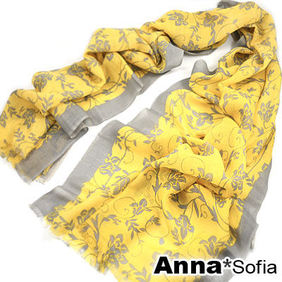 AnnaSofia 旖呢繞花 薄款純羊毛圍巾(黃灰系)