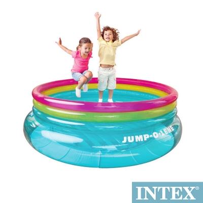 INTEX兒童圓形三色透明跳跳床球池-寬203cm 48267NP