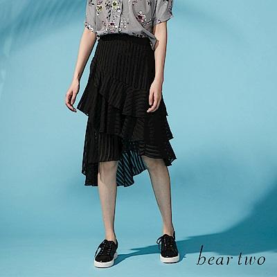 beartwo 波浪變化透膚雪紡不對襯裙(黑色)