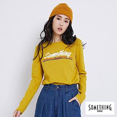 SOMETHING 簡約LOGO長袖T恤-女-黃色