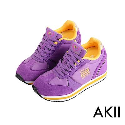 【AKII】新潮流時尚內增高休閒鞋 ↑10cm 紫