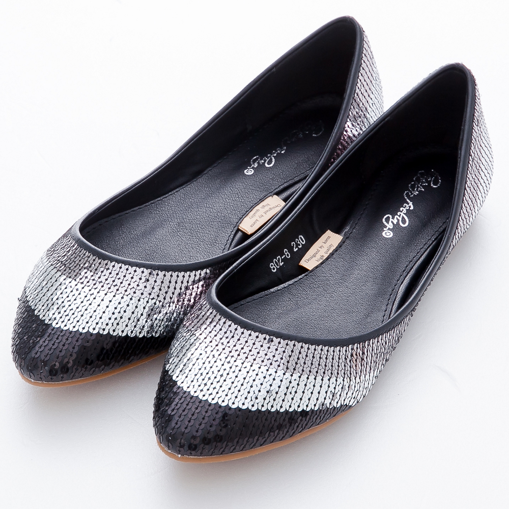 River&Moon娃娃鞋-精選韓品‧漸層閃耀亮片膠底尖頭低跟鞋-黑