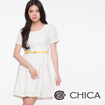 CHICA-純白蕾絲燒花洋裝