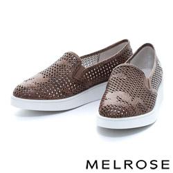 MELROSE 潑墨造型全真皮打洞厚底休閒鞋-咖