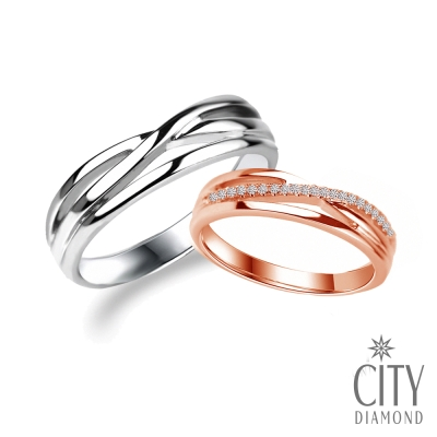 City Diamond『編織愛』鑽石結婚對戒-白/玫瑰金