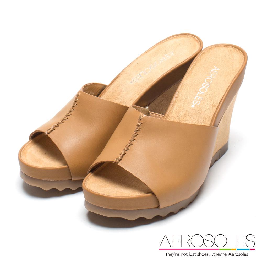 AEROSOLES 復古休閒真皮寬版雙色厚底涼鞋-個性棕色