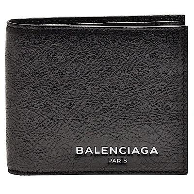 BALENCIAGA 經典品牌字母烙印小羊皮對摺短夾(黑)