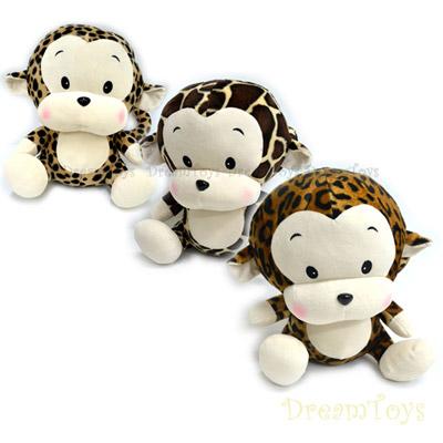 《凡太奇》台灣製造-12吋花紋猴(豹紋)坐姿絨毛娃娃/填充娃娃-3款斑紋隨機出貨