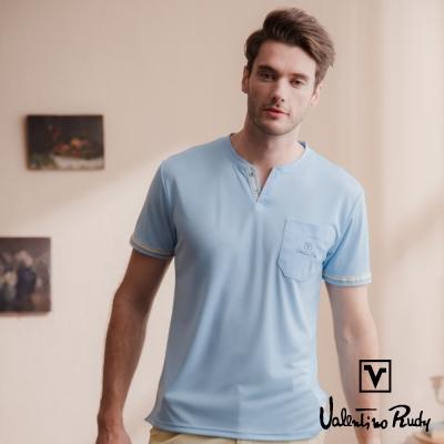 Valentino Rudy 范倫鐵諾.路迪 吸濕排汗冰涼機能T恤衫-水藍-V領口袋