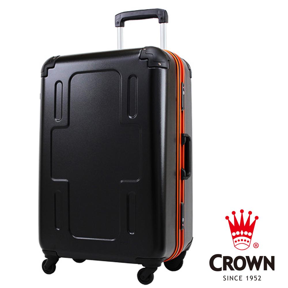 【CROWN 皇冠】日本設計 24吋 新型輕量化 PC料 360度靜音輪 輕量行李箱 橘框