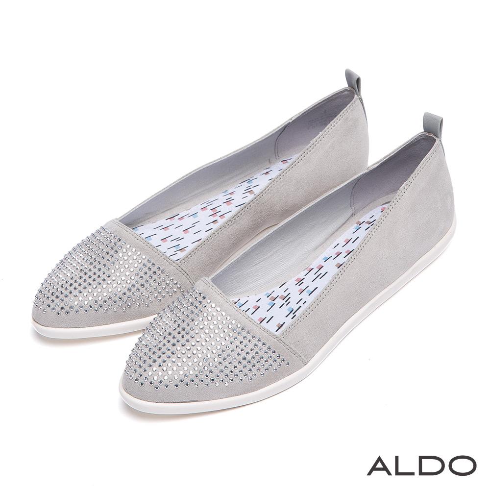 ALDO 華麗星爍水鑽綴飾帆布平底尖頭鞋~閃亮灰