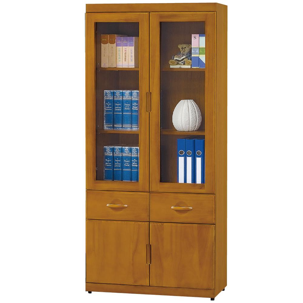 品家居 開羅2.7尺抽木色四門二抽書櫃-80x33x182cm-免組