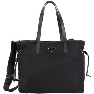 PRADA Tessuto 三角牌抽繩設計尼龍兩用托特包(黑色)