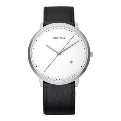 BERING丹麥精品手錶 創意長秒針系列 藍寶石鏡面 黑色皮革白錶盤39mm
