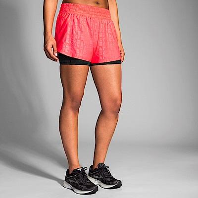 BROOKS 女 Circuit環行二合一運動短褲3吋 競速粉(221257651)