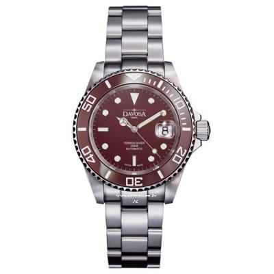 DAVOSA Ternos Ceramic 200米陶瓷框潛水腕錶-咖啡/40mm