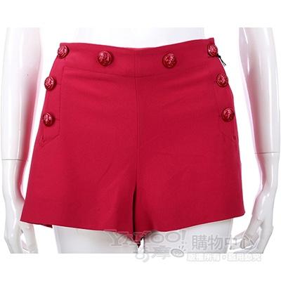 MOSCHINO 莓紅色鈕釦綴飾短褲