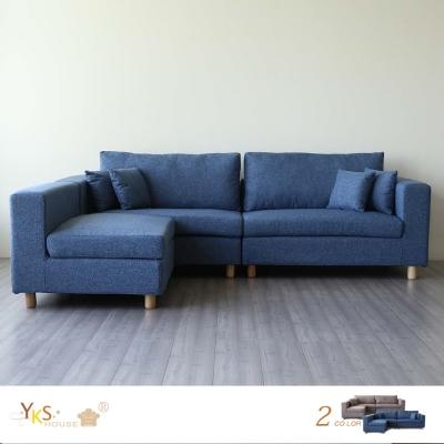 YKSHOUSE 哥倫布L型布沙發-獨立筒版(兩色可選)