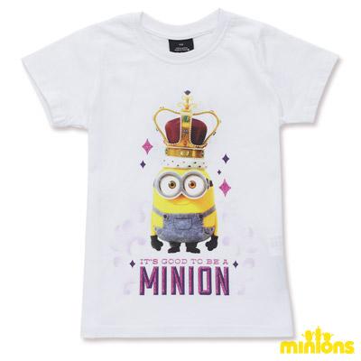 Minions-戴皇冠的黃色小小兵短袖T恤-白(童)